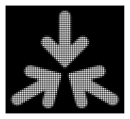Halftone dotted triple collide arrows icon. White pictogram with pixelated geometric pattern on a black background. Vector triple collide arrows icon done of round pixels.