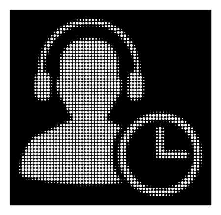 Halftone pixelated operator time icon. White pictogram with pixelated geometric pattern on a black background. Vector operator time icon organized of round dots. Stock Photo