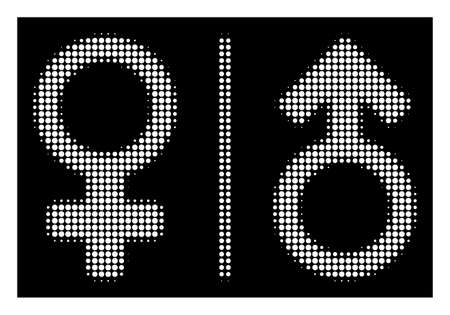 Halftone pixelated WC gender symbols icon. White pictogram with dot geometric structure on a black background. Vector WC gender symbols icon constructed of round elements.