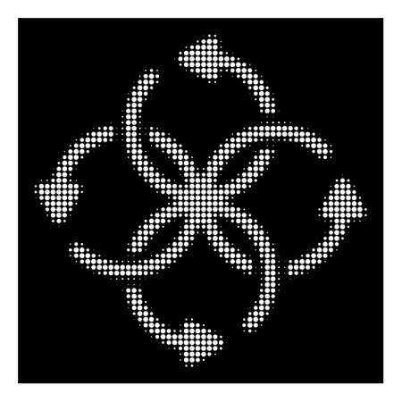 Halftone dotted knot rotation icon. White pictogram with dotted geometric pattern on a black background. Vector knot rotation icon done of circle elements.