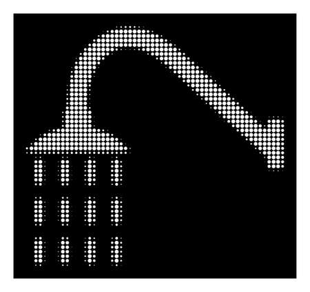 Halftone dotted shower icon. White pictogram with dotted geometric structure on a black background. Vector shower icon created of circle points. Stock Photo