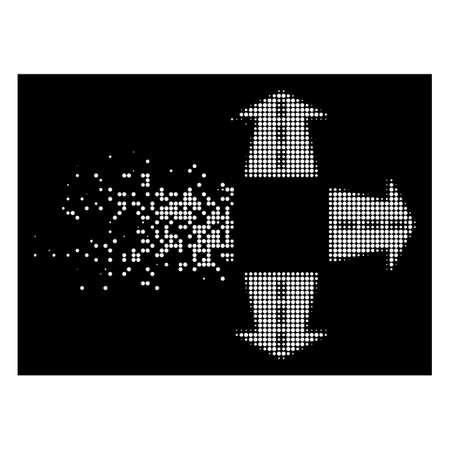 Road directions icon with dissolving effect on black background. White circle dots are combined into vector disappearing halftone road directions shape. Disappearing effect uses small round fragments.