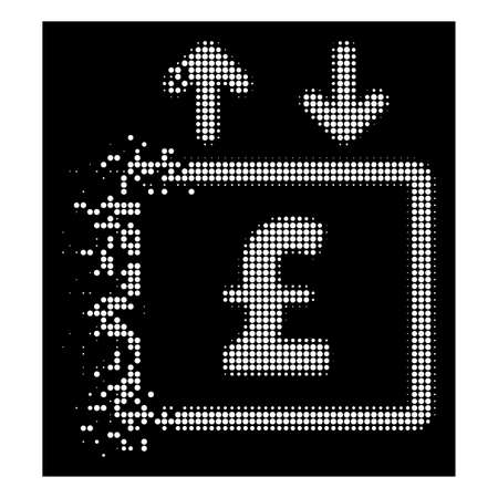 Pound money elevator icon with disintegrated effect on black background. White cells are composed into vector dissipated halftone pound money elevator icon.