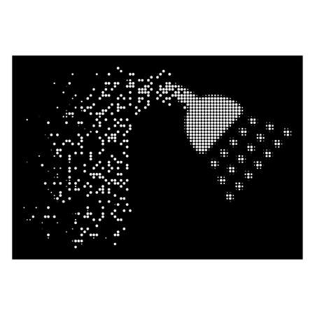 Shower icon with dispersed effect on black background. White pixels are combined into vector dispersed halftone shower pictogram. Disappearing effect uses small round particles.