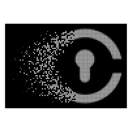 Keyhole icon with dispersed effect on black background. White particles are composed into vector dispersed halftone keyhole form. Disintegration effect uses small round particles. Vektorgrafik