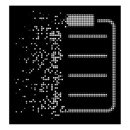 Ethereum-Listenblock-Symbol mit verschwindender Wirkung auf schwarzem Hintergrund. Weiße Pixel werden zu einem vektorauflösenden Ethereum-Listenblock-Symbol mit Halbtonauflösung zusammengesetzt. Beim Verschwinden werden kleine runde Fragmente verwendet.