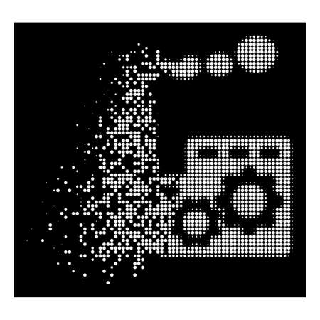 Factory building icon with dissipated effect on black background. White elements are organized into vector dissipated halftone factory building pictogram. Illustration