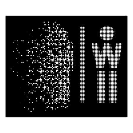 WC persons icon with dissipated style on black background. White circles are grouped into vector dissipated halftone WC persons icon. Disintegration effect uses small round particles.