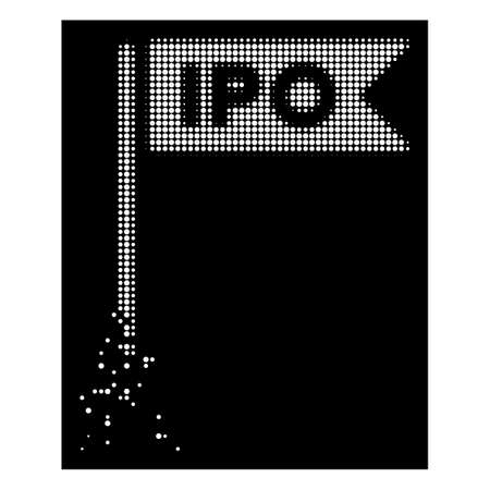 IPO flag icon with disappearing effect on black background. White particles are grouped into vector dissipated halftone IPO flag form. Disintegration effect uses small round particles. Illustration