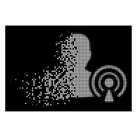 Podcast creator icon with disappearing effect on black background. White circle dots are grouped into vector disappearing halftone podcast creator shape. Disappearing effect uses small round dots.