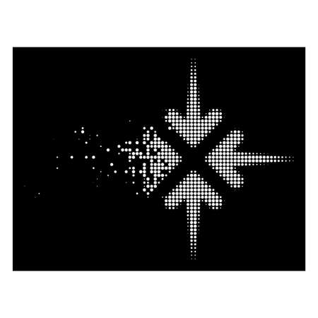 Impact arrows icon with dispersed effect on black background. White elements are composed into vector disappearing halftone impact arrows shape. Disintegration effect uses small round dots. Ilustração