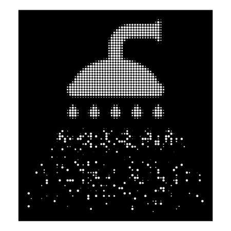 Shower icon with disappearing effect on black background. White cells are arranged into vector disappearing halftone shower symbol. Disappearing effect uses small round particles.