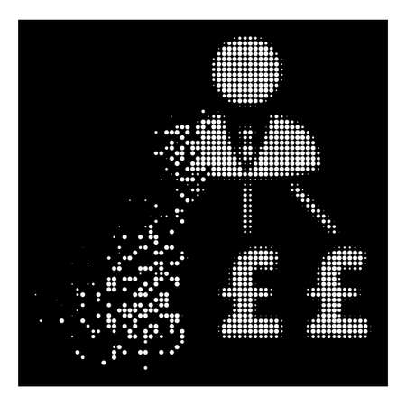 Businessman pound expenses icon with dissolving effect on black background. White circle dots are combined into vector dissipated halftone businessman pound expenses icon. Illustration