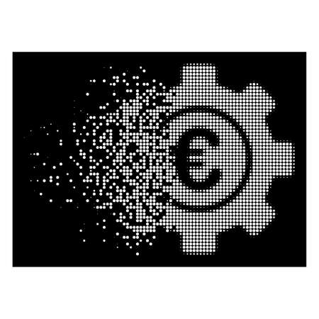 Euro development gear icon with dissolved effect on black background. White particles are composed into vector disappearing halftone Euro development gear icon. Illustration