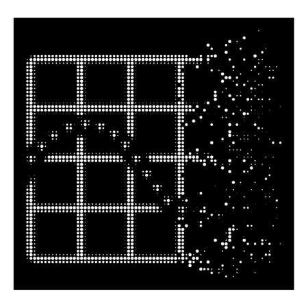 Dotted function chart icon with disappearing effect on black background. White cells are combined into vector dissolving halftone dotted function chart pictogram.