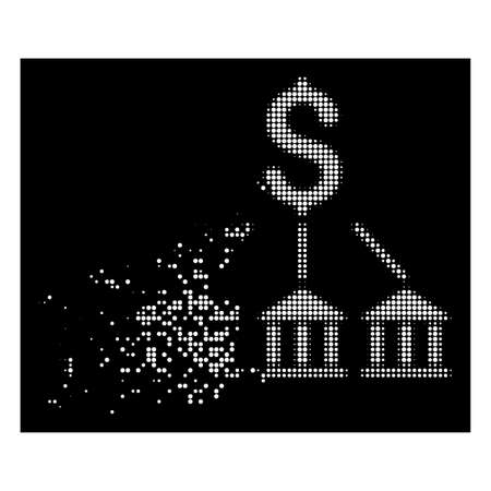 Bank association icon with dissipated effect on black background. White pieces are combined into vector disappearing halftone bank association icon. Disintegration effect involves small round dots.