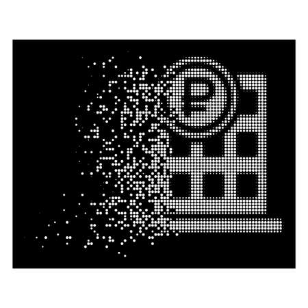 Rouble bank office icon with disappearing effect on black background. White circle dots are arranged into vector disappearing halftone rouble bank office figure.