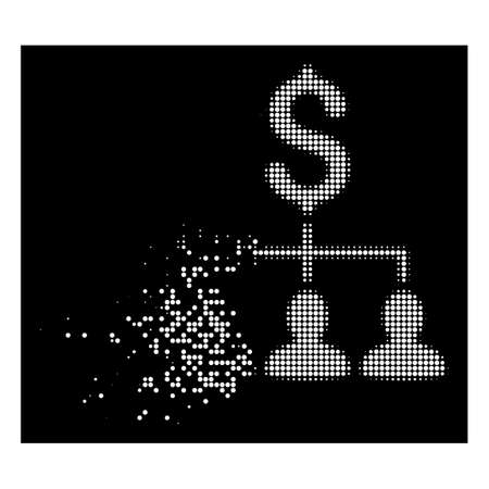 Payment relations icon with dissipated effect on black background. White cells are organized into vector dissipated halftone payment relations icon.