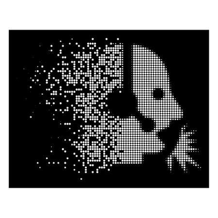 Operator speech icon with disappearing style on black background. White sparks are composed into vector dissipated halftone operator speech symbol. Disappearing effect involves small round fragments. Ilustrace