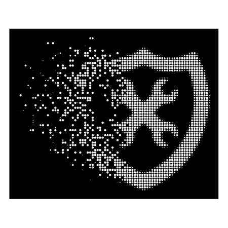Security configuration icon with disappearing style on black background. White sparks are grouped into vector dispersed halftone security configuration icon. Illustration