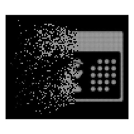 Pray calendar icon with disappearing style on black background. White cells are grouped into vector disappearing halftone pray calendar form. Disappearing effect involves small round fragments.