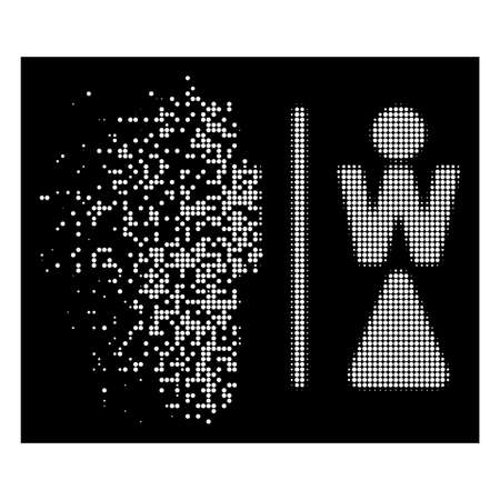 WC persons icon with dissolving effect on black background. White particles are grouped into vector dissolving halftone WC persons form. Disintegration effect uses small round particles. Illustration