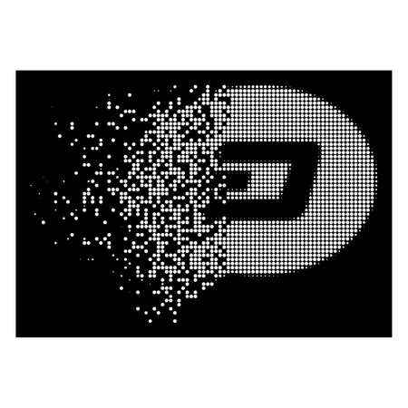 Dash message balloon icon with dissipated effect on black background. White particles are organized into vector dissipated halftone Dash message balloon symbol.