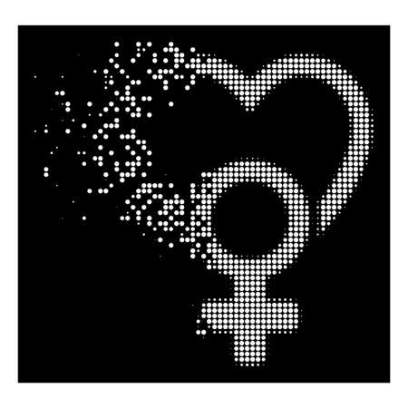 Female love icon with disappearing effect on black background. White cells are organized into vector dissipated halftone female love shape. Disappearing effect uses small round dots. Illustration