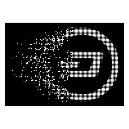 Dash rounded icon with disappearing style on black background. White points are organized into vector disappearing halftone Dash rounded icon. Disappearing effect involves small round particles.