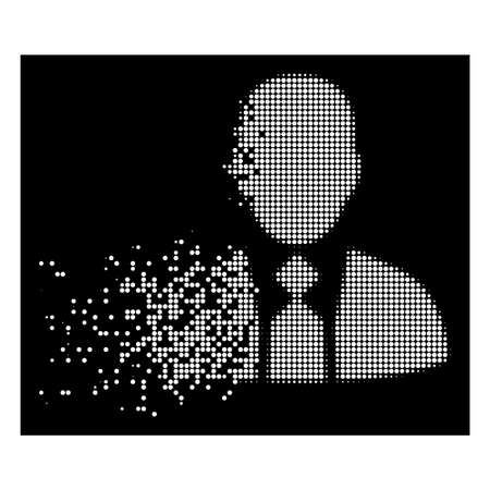 Boss icon with dissolving effect on black background. White circle dots are combined into vector dissolving halftone boss icon. Disappearing effect involves small round fragments.