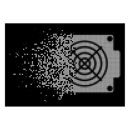 Mining ASIC device icon with disappearing effect on black background. White circle dots are combined into vector dispersed halftone mining ASIC device icon. Ilustração