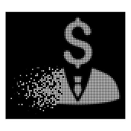 Businessman icon with disappearing style on black background. White elements are combined into vector dissolving halftone businessman icon. Disappearing effect involves small round fragments.