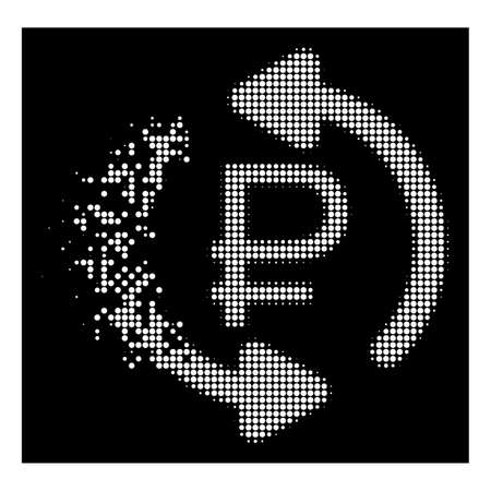 Refresh rouble balance icon with disappearing style on black background. White points are combined into vector disappearing halftone refresh rouble balance pictogram.