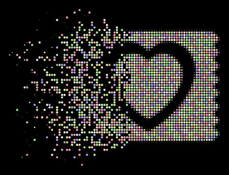 Heart condom pack pictogram with dissolved effect in light color hues on a black background. Light rounded points are combined into vector dissipated halftone heart condom pack figure.