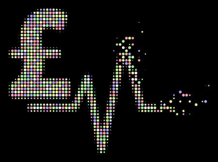Pound pulse pictogram with disintegrated style in bright color tinges on a black background. Bright circle sparks are arranged into vector disappearing halftone pound pulse figure.