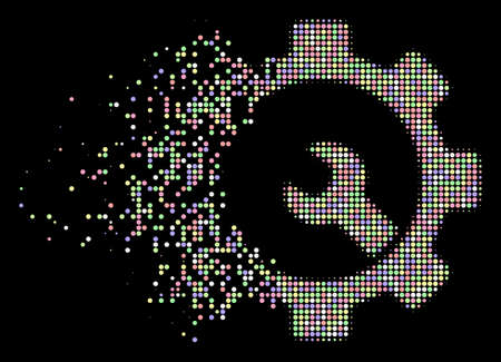 Service tools icon with dissolving effect in soft color tinges on a black background. Soft rounded particles are composed into dispersed halftone service tools icon. Banco de Imagens