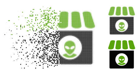 Alien shop icon in dispersed, pixelated halftone and undamaged entire variants. Pieces are composed into vector disappearing alien shop figure. Disappearing effect uses rectangle points.