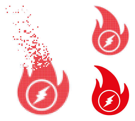 Electric flame icon in dispersed, pixelated halftone and undamaged entire versions. Pieces are composed into vector disappearing electric flame form. Disappearing effect uses square dots. Illustration