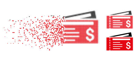 Dollar cheques icon in dissolved, pixelated halftone and undamaged whole variants. Points are composed into vector disappearing dollar cheques icon. Disappearing effect involves square fragments. Illustration