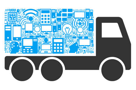 Delivery Car composition icon created for bigdata illustrations. Vector delivery car mosaics are united from computer, calculator, connections, wi-fi, network icons into abstract composition.