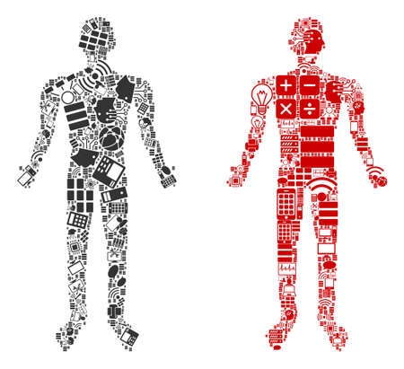 Human collage icons combined for bigdata illustrations. Vector human mosaics are combined from computer, calculator, connections, wi-fi, network symbols into abstract compositions. Archivio Fotografico - 120139534