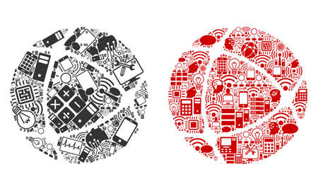 Internet composition icons combined for bigdata illustrations. Vector internet mosaics are combined from computer, calculator, connections, wi-fi, network icons into abstract collages.