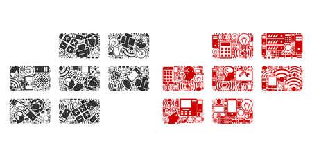 Iconos de composición de cuadrícula de calendario combinados para ilustraciones de bigdata. Los mosaicos de cuadrícula de calendario vectorial se combinan desde computadora, calculadora, conexiones, wi-fi, iconos de red en composiciones abstractas. Ilustración de vector