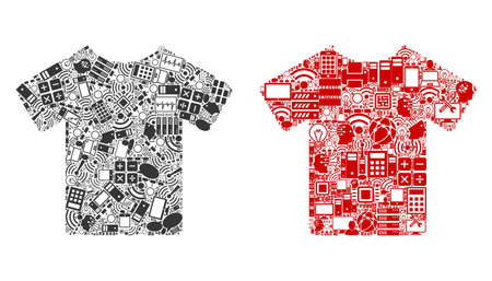 T-Shirt composition icons organized for bigdata purposes. Vector T-shirt mosaics are composed from computer, calculator, connections, wi-fi, network icons into abstract collages. Usual and red colors. Illustration