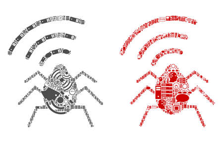 Radio Bug collage icons constructed for bigdata illustrations. Vector radio bug mosaics are composed from computer, calculator, connections, wifi, network icons into abstract collages.