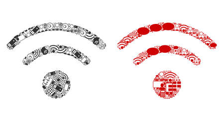 WiFi composition icons organized for bigdata purposes. Vector WiFi mosaics are organized from computer, calculator, connections, wifi, network icons into abstract patterns. Usual and red colors.