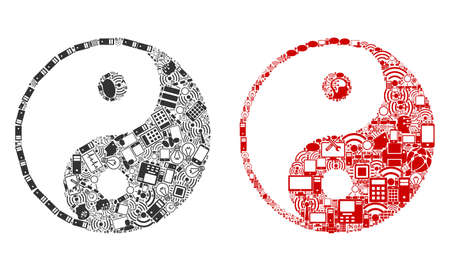 Yin Yang collage icons combined for bigdata purposes. Vector yin yang mosaics are combined from computer, calculator, connections, wifi, network icons into abstract collages. Usual and red colors.