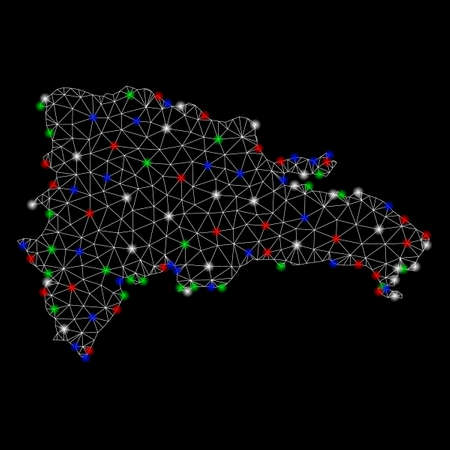 Bright mesh Dominican Republic map with glow effect. Wire frame polygonal mesh in vector format on a black background. Abstract 2d mesh designed with polygonal grid, dots, colored flash spots.