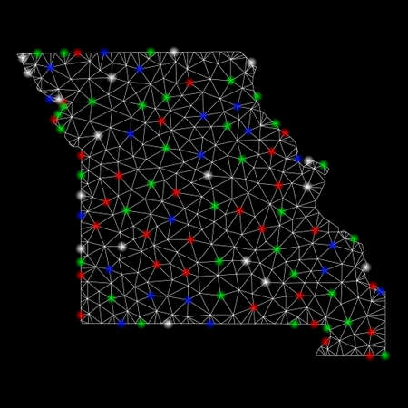 Bright mesh Missouri State map with glare effect. Wire frame polygonal mesh in vector format on a black background. Abstract 2d mesh designed with triangles, small circle, colored glare spots.