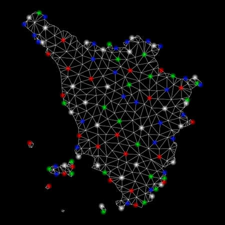 Bright mesh Tuscany region map with glare effect. Wire frame triangular mesh in vector format on a black background. Abstract 2d mesh designed with triangular lines, round dots, colorful glare spots.